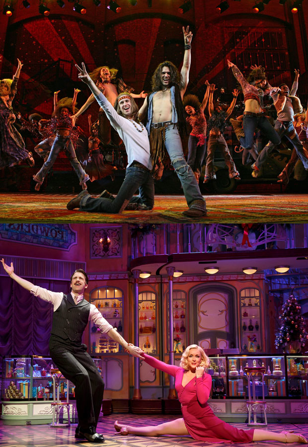 Gavin Creel and Will Swenson in the 2009 Broadway revival of Hair (top); Gavin Creel and Jane Krakowski in the 2016 revival of She Loves Me (bottom).