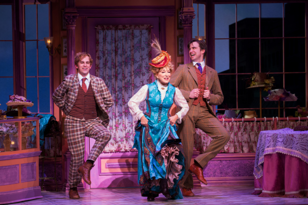 Taylor Trensch, Bette Midler, and Gavin Creel in Hello, Dolly! at the Shubert Theatre.