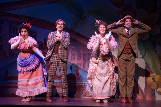 Beanie Feldstein, Taylor Trensch, Kate Baldwin, and Gavin Creel in Hello, Dolly! on Broadway.
