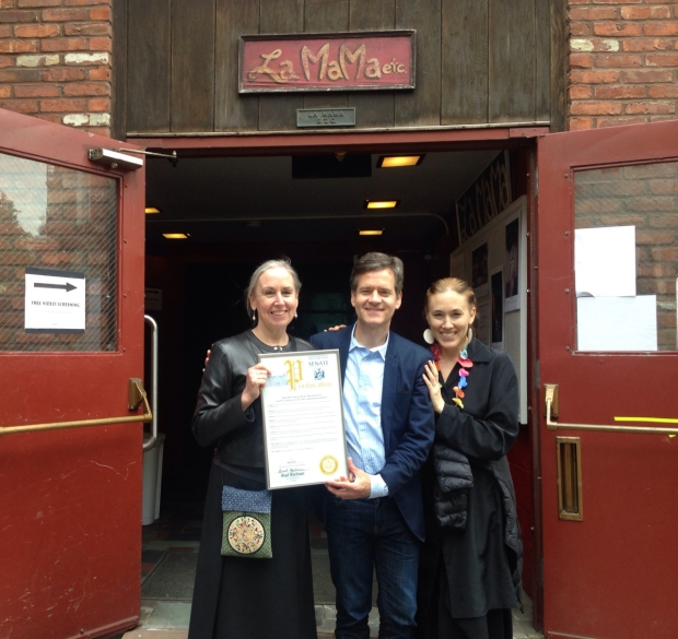 Mary Fulham (left) and Mia Yoo (right) with State Senator Brad Hoylman (center) with a proclamation from the NY State Senate at La Mama's block party, Dancing in the Streets.
