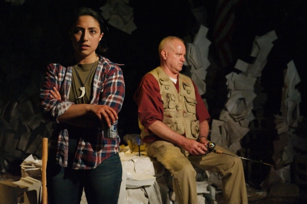 Arti Ishak (Leila) and Randy Steinmeyer (Johnny) in Johnny 10 Beers' Daughter, directed by Emmi Hilger, at Chicago Dramatists.