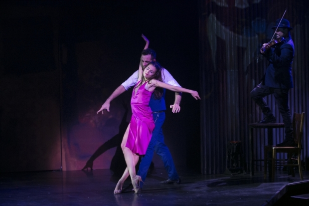 Micaela Spina, Juan Cupini, and band member Julio Dominguez in Arrabal, directed by Sergio Trujillo, at the American Repertory Theater.
