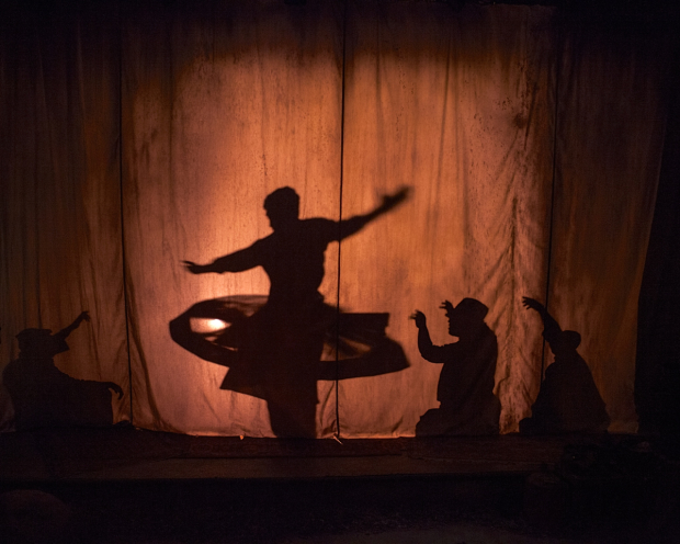 Tony Speciale stages certain scenes in The Boy Who Danced on Air behind a shadow curtain.