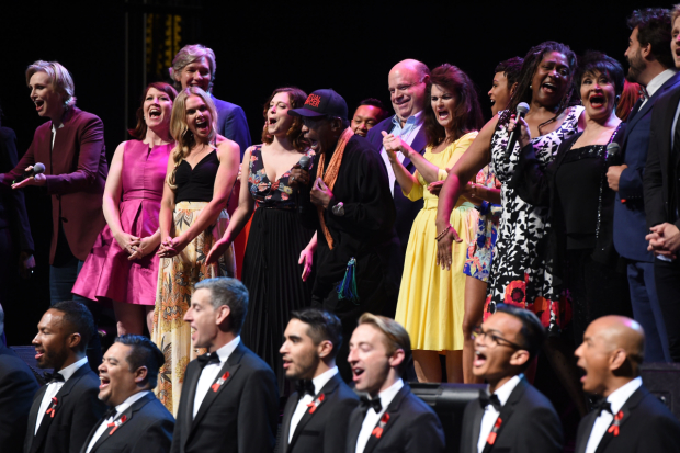 The cast of Concert for America: Stand Up, Sing Out at UCLA's Royce Hall.