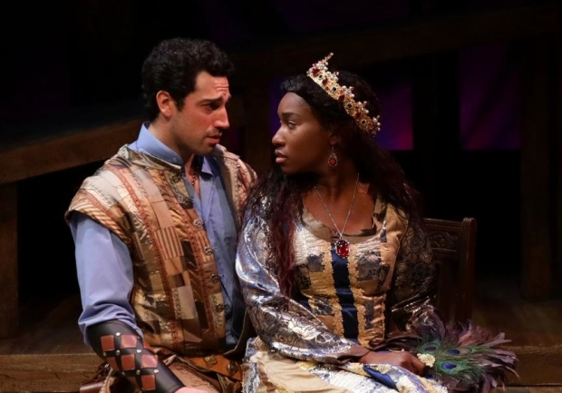 Jared Troilo (Lancelot) and Maritza Bostic (Guenevere) in Camelot, directed by Spiro Veloudos, at the Lyric Stage Company.