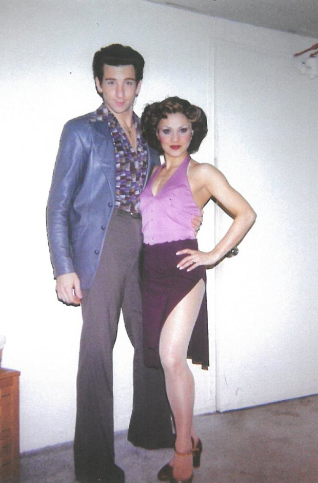 Andy Karl and future wife Orfeh backstage at Saturday Night Fever, his Broadway debut.