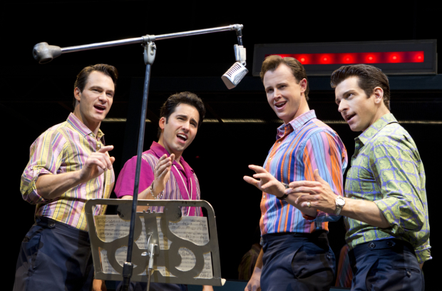 Andy Karl (right) with John Lloyd Young, Matt Bogart, and Quinn VanAntwerp in Jersey Boys.