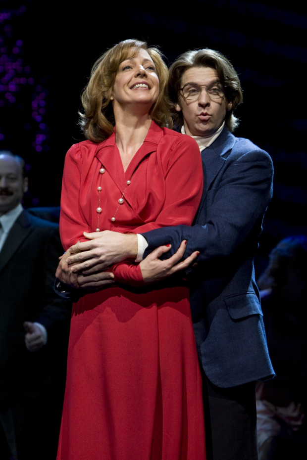 Allison Janney and Andy Karl share a scene in 9 to 5.