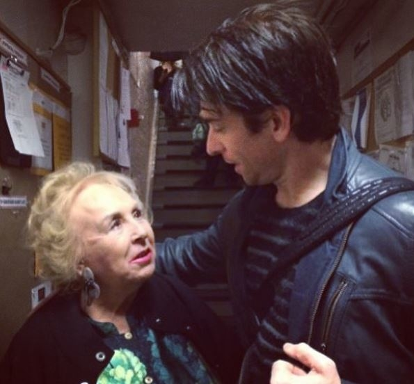 Andy Karl greats Doris Roberts backstage at Rocky.