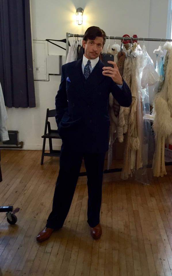 Andy Karl looks sharp at an On the 20th Century costume fitting.