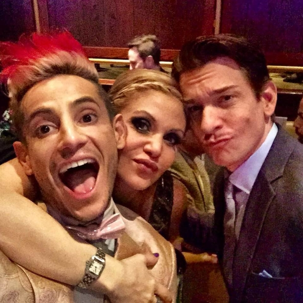 Frankie J. Grande celebrates the opening of On the 20th Century with Orfeh and Andy Karl.