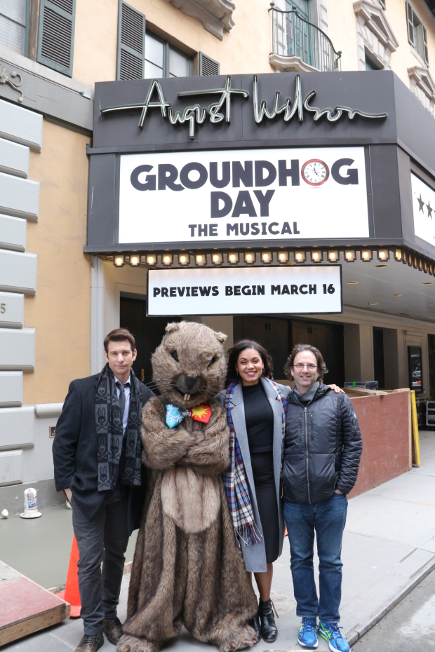 Andy Karl, with Groundhog Day costar Barrett Doss, book writer Danny Rubin, and the show's own groundhog.