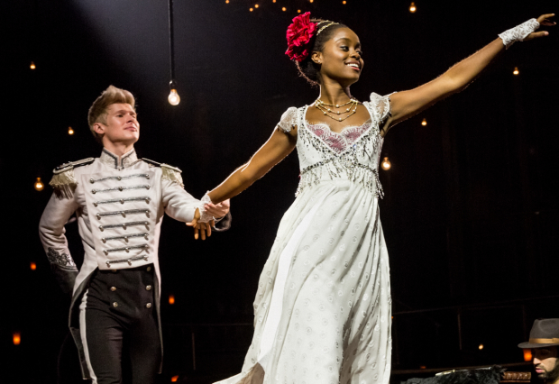 Lucas Steele as Anatole with  Denée Benton (Natasha) in a scene from Natasha, Pierre & The Great Comet of 1812.