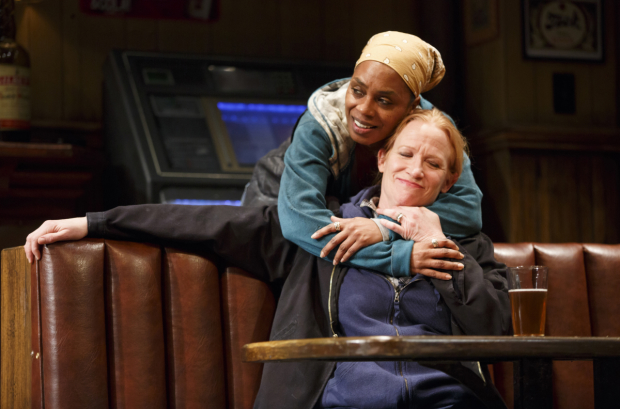 Michelle Wilson (back) as Cynthia with her fellow Tony nominee Johanna Day (Tracey) in Lynn Nottage's Sweat.