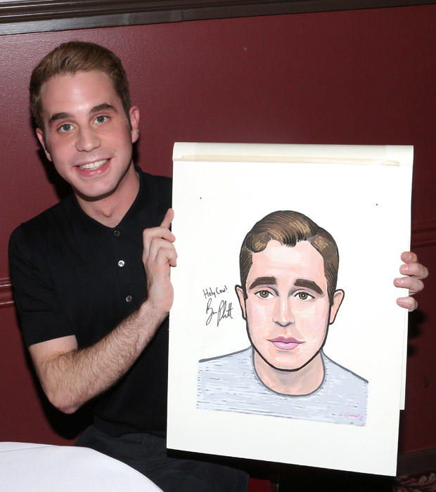 Ben Platt shows off his new Sardi's caricature.