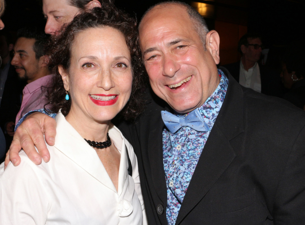 Presente Bebe Neuwirth smiles alongside Indecent choreographer David Dorfman.