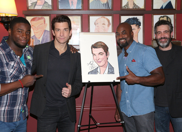 Andy Karl is flanked by his Rocky cast members Okieriete Onaodowan, Terence Archie, and Kevin Del Aguila.
