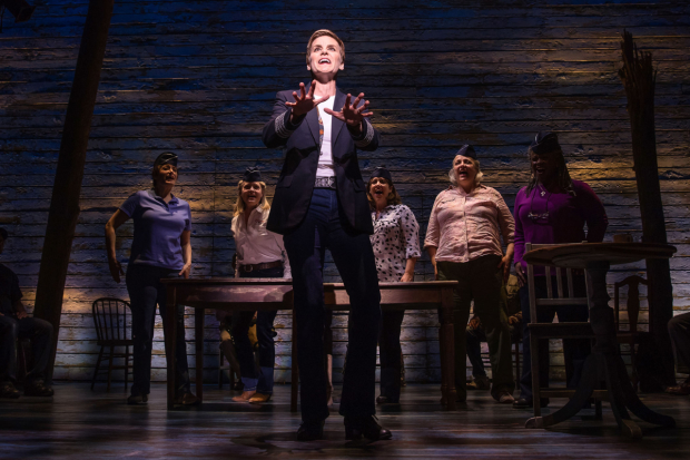 Jenn Colella (center) in the new Broadway musical Come From Away.