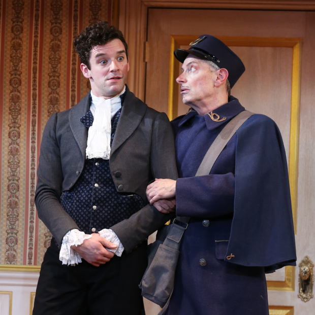 Michael Urie and Arnie Burton star in The Government Inspector at the Duke on 42nd Street.