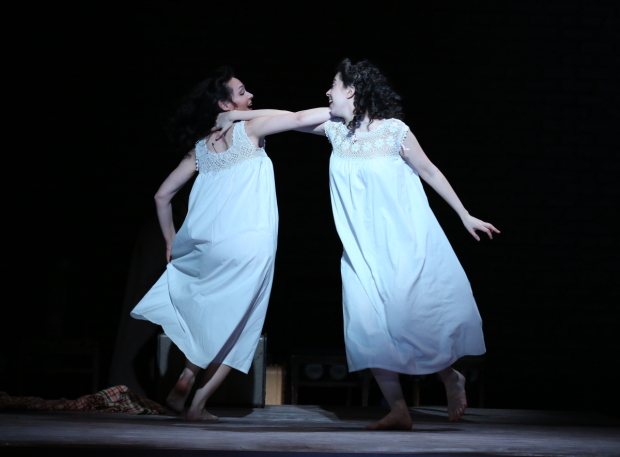 Katrina Lenk and Adina Verson star in Paula Vogel's Indecent, directed by Rebecca Taichman, at the Cort Theatre.