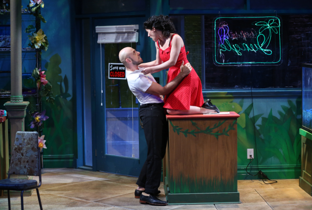 Anthony Michael Lopez and Alyssa H. Chase star in the revival of Charles Ludlam's The Artificial Jungle, directed by Everett Quinton, at the Clurman Theatre.