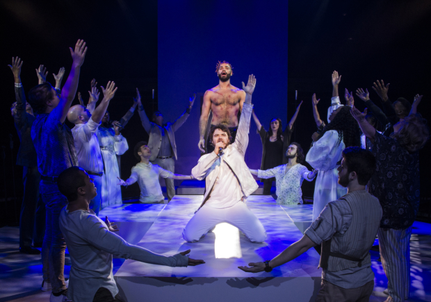 Nicholas Edwards (Jesus) and Ari McKay Wilford (Judas) with the cast of Jesus Christ Superstar at Signature Theatre.