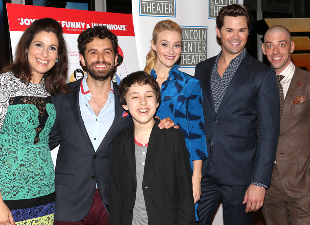 Stephanie J. Block, Brandon Uranowitz, Anthony Rosenthal, Betsy Wolfe, Andrew Rannells, and Christian Borle see Falsettos on the big screen.