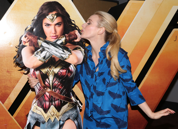 Betsy Wolfe cozies up to Wonder Woman at Cinépolis Chelsea.
