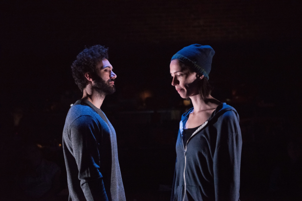 Morgan Spector and Rebecca Hall in Clare Lizzimore's Animal, directed by Gaye Taylor Upchurch, at Atlantic Theater Company's Stage 2.