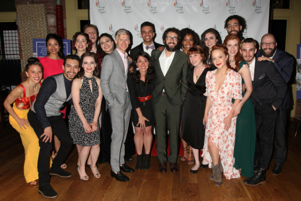 Josh Groban (center) poses with the company of Natasha, Pierre & The Great Comet of 1812 at the Find Your Light annual gala.