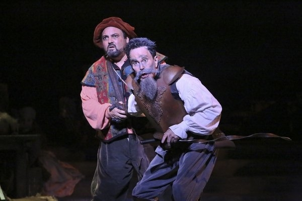 Roland Rusinek and Davis Gaines in Man of La Mancha, directed by Glenn Casale, at La Mirada Theatre.