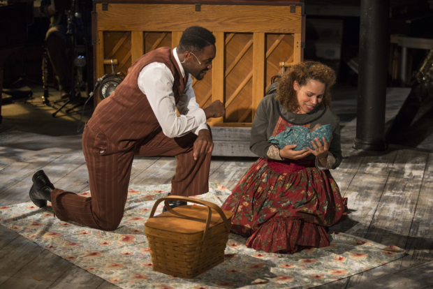 Denzel Tsopnang and Katherine Thomas in Griffin Theatre Company's production of Ragtime, directed by Scott Weinstein.