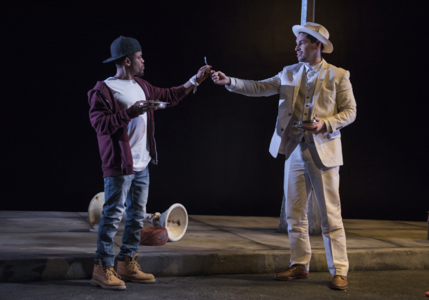 Jon Michael Hill and Ryan Hallahan in a scene from Pass Over, directed by Danya Tyamor, at Steppenwolf Theatre.