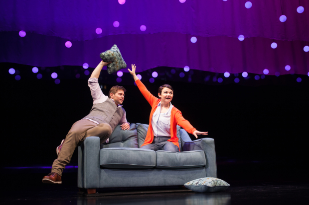 Allen Leech and Ginnifer Goodwin as Roland and Marianne in Constellations at the Geffen Playhouse.