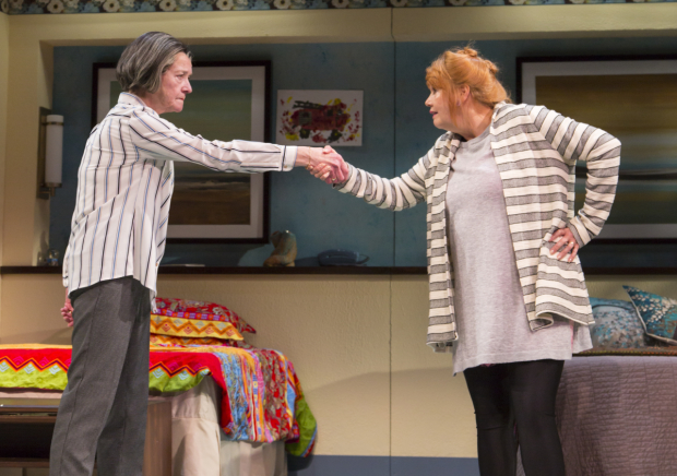 Nancy E. Carroll and Annie Golden in the Huntington Theatre Company production of Ripcord, directed by Jessica Stone.