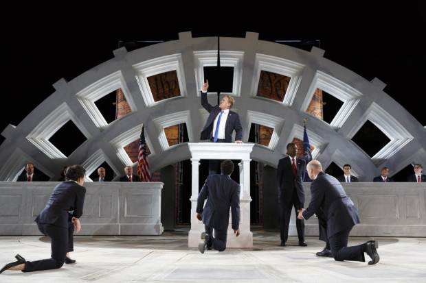 Gregg Henry (center) leads the company of the free Shakespeare in the Park production of Julius Caesar, directed by Oskar Eustis, at the Delacorte Theater.