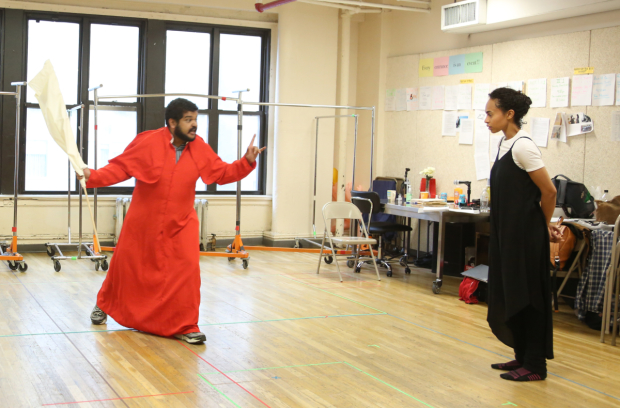 Kenneth De Abrew and Cara Ricketts rehearse a scene for  Measure for Measure.
