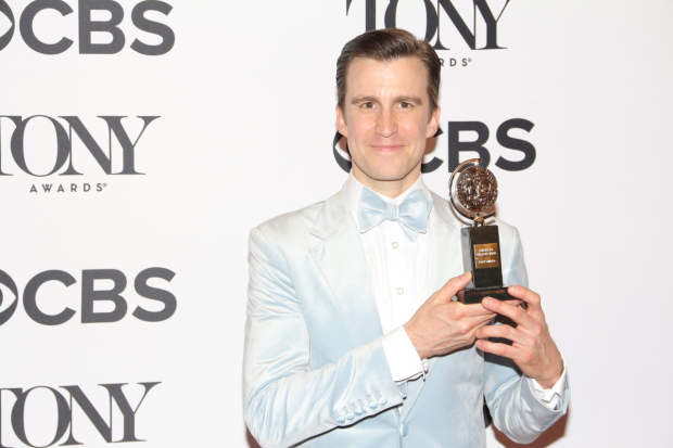 Gavin Creel and his Tony for Best Featured Actor in a Musical.