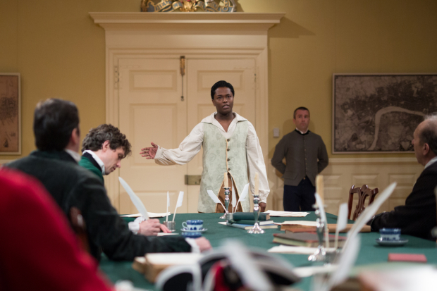 Trinidad Ramkissoon in a scene from Blood on the Snow, directed by Courtney O'Connor, at the Old State House in Boston.