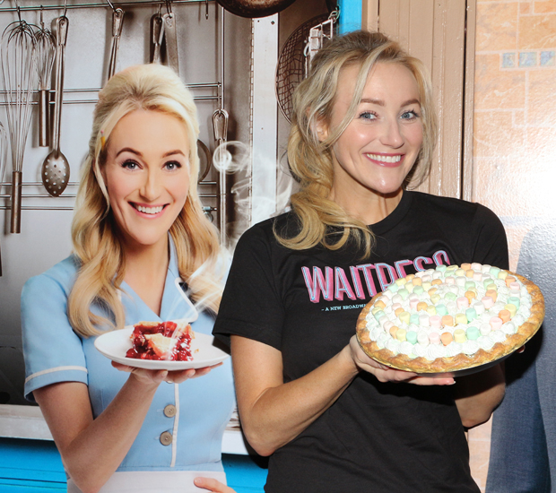 Betsy Wolfe poses with her photo at the Brooks Atkinson Theatre.