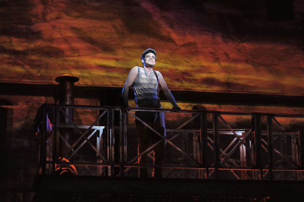 Jeremy Jordan as Jack Kelly in Disney's Newsies.