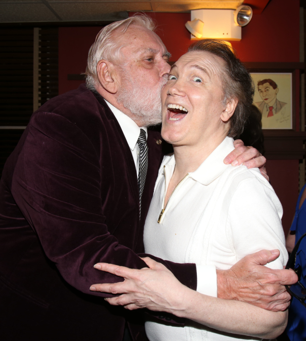 Jim Brochu celebrates opening night of Zero Hour by planting one on Charles Busch's cheek.
