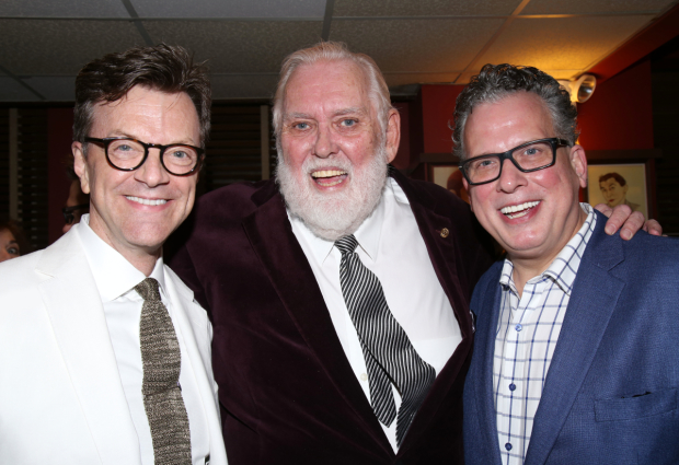 Jim Caruso, Jim Brochu, and Billy Stritch celebrate opening night of Zero Hour.