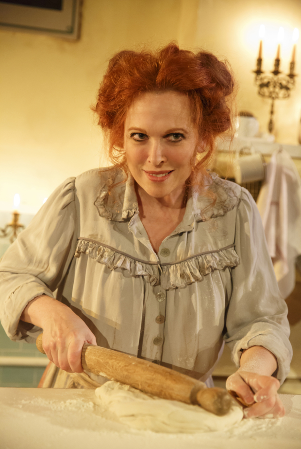 Carolee Carmello plays Mrs. Lovett in Sweeney Todd at the Barrow Street Theatre.