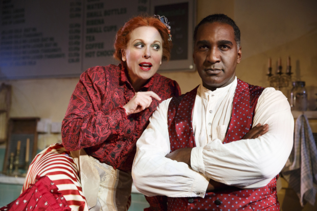 Carolee Carmello and Norm Lewis star in Stephen Sondheim and Hugh Wheeler's Sweeney Todd: The Demon Barber of Fleet Street, directed by Bill Buckhurst for Tooting Arts Club, at the Barrow Street Theatre.