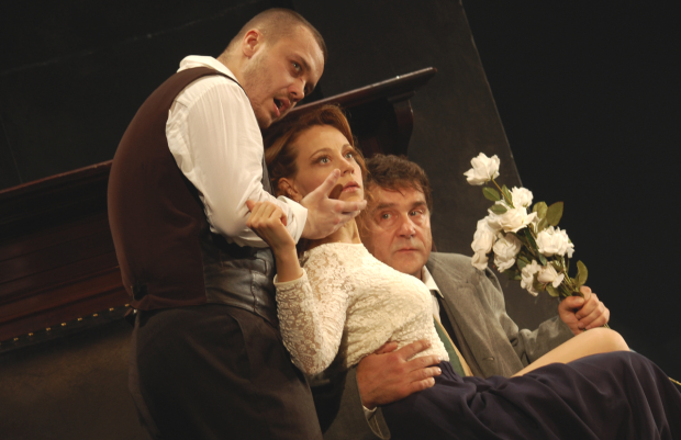 Artur Ivanov plays Astrov, Anna Dubrovskaya plays Elena, and Sergey Makovetskiy plays Vanya in Anton Chekhov's Uncle Vanya at New York City Center.