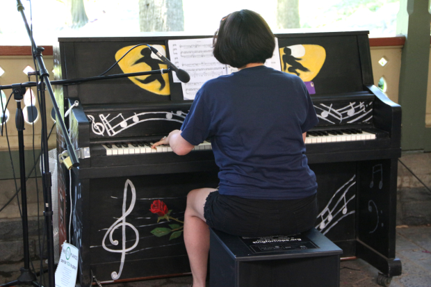 The custom Andrew Lloyd Webber Sing for Hope piano is played by Satomi Hofmann at the Dairy in Central Park.