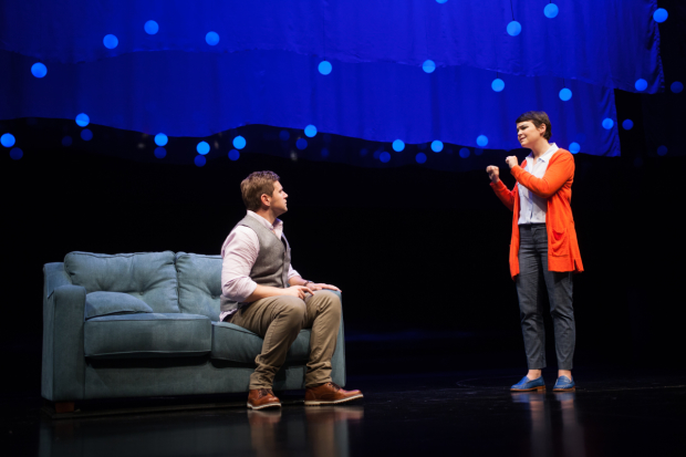 Allen Leech (Roland) and Ginnifer Goodwin (Marianne) in Nick Payne's Constellations, directed by Giovanna Sardelli, at the Geffen Playhouse.