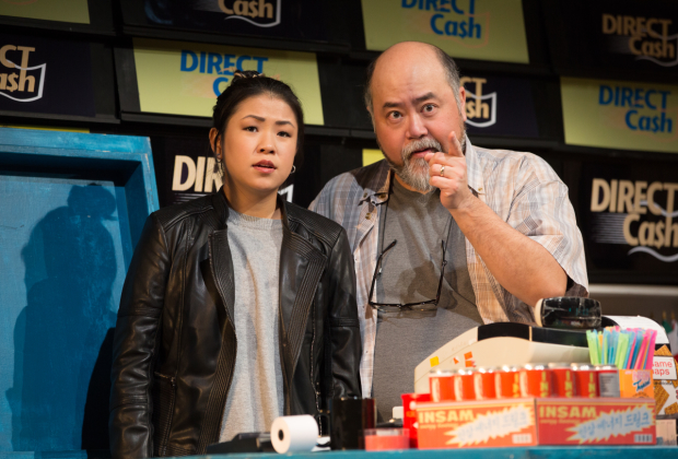 Rosie Simon and Paul Sun-Hyung Lee in Soulpepper's Kim's Convenience.