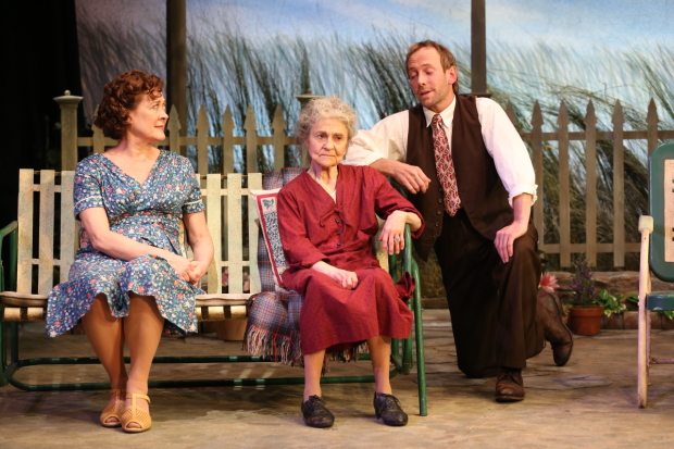 Karen Ziemba, Lynn Cohen, and PJ Sosko in a scene from The Traveling Lady, directed by Austin Pendleton, at the Cherry Lane Theatre.